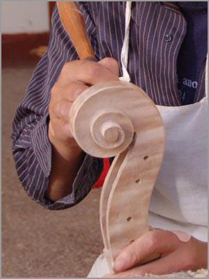 Cutting a cello scroll